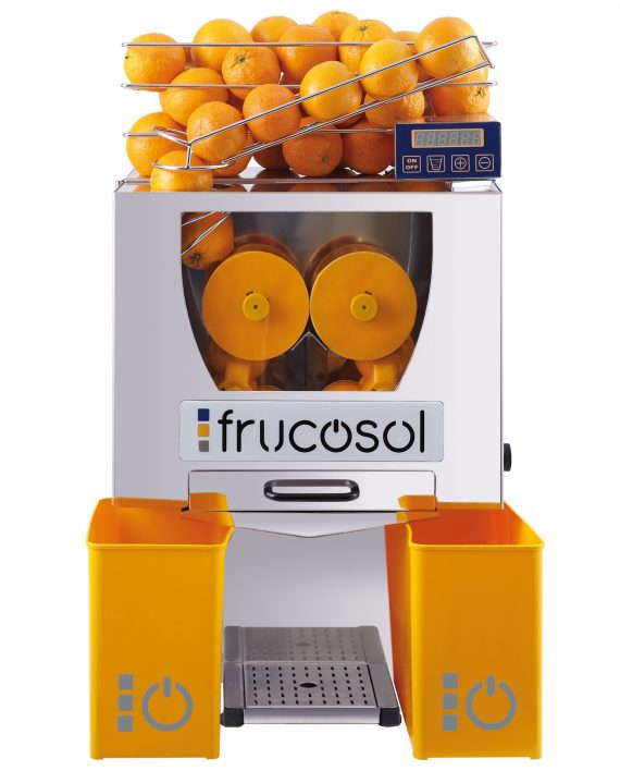 Frucosol F--50C Automatic Juice The Frucosol F-50C Automatic Juicer has an advanced design that makes it one of the most functional, versatile and compact automatic machines on the market today. It will allow you to offer your customers fresh orange juice in seconds.